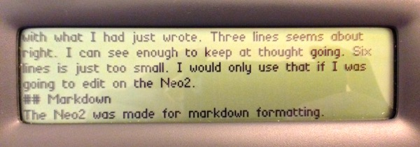 Neo2 showing the small six-line font.