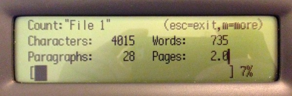 Neo2 showing the word count screen.