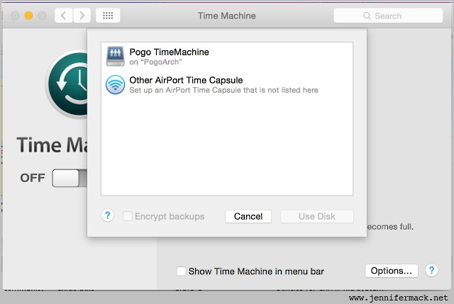 Pogo server available for Time Machine backups.