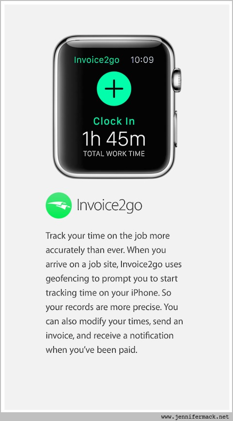 Apple Watch with Invoice2Go app shown.