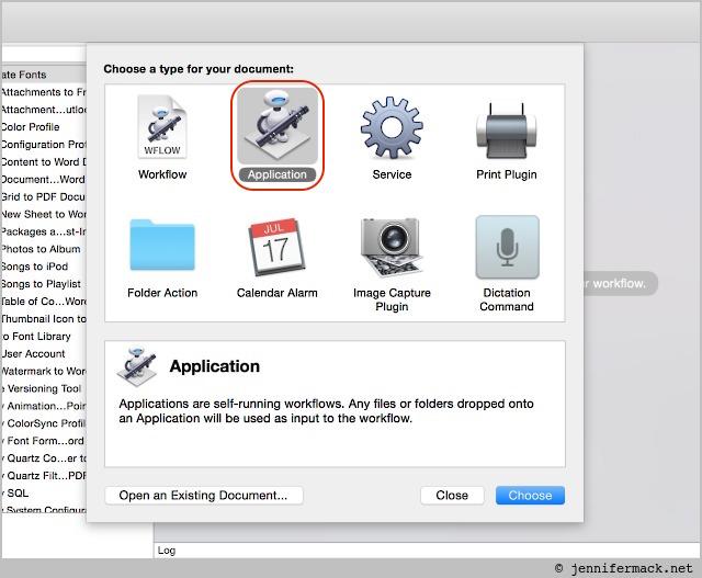 Automator: choosing application type.