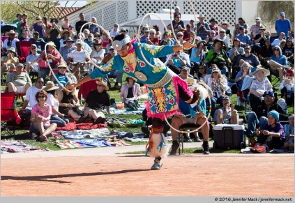 Phoenix, Arizona, USA. 14th February, 2016. Patrick Willie competes in the second round of the 27th Annual World Championship Hoop Dance Contest. © Jennifer Mack/Alamy Live News