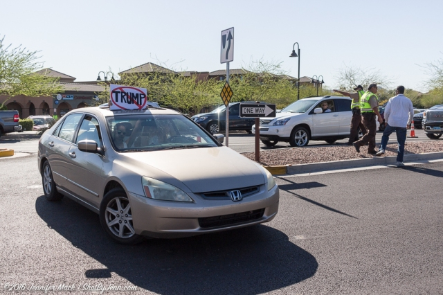 Fountain Hills, Arizona, 19th March 2016. Protesters turning around at a police checkpoint in near the Donald Trump rally.