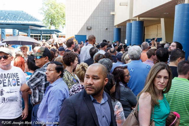 Phoenix, Arizona, 21st March 2016. People wait to enter the Hillary Clinton rally.