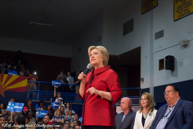 Phoenix, Arizona, 21st March 2016. Hillary Clinton speaks during a campaign rally.