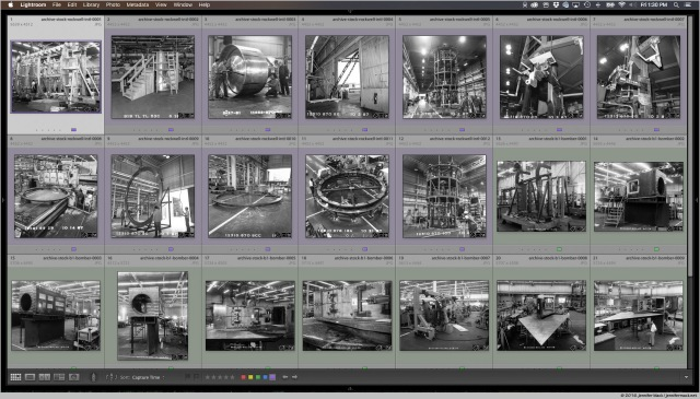 Contact sheet showing scans of archival photos from the 1960s to 1990s.