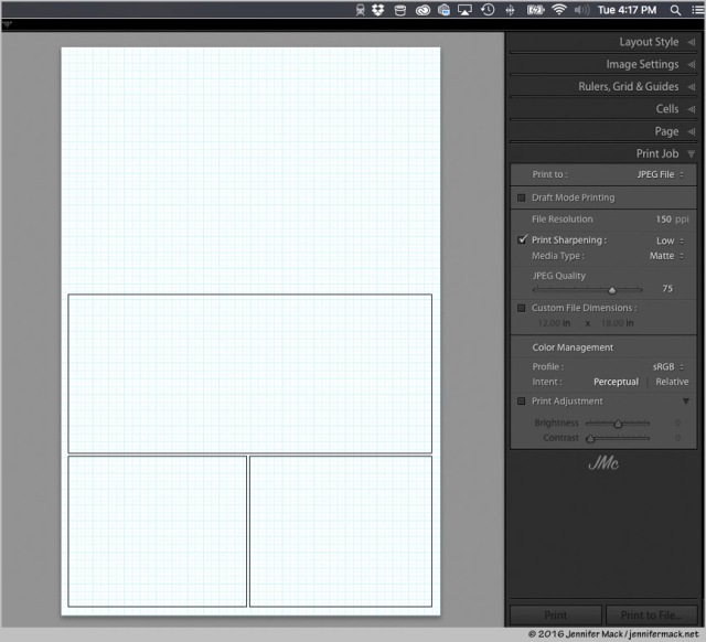 Page layout in Lightroom ready for pictures to be dragged into place.