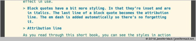Ulysses markdown showing a block quote with attribution line.
