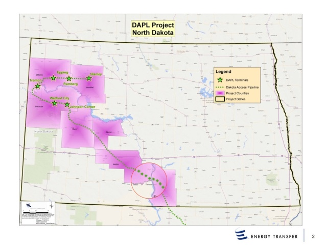 The path of DAPL through North Dakota, with affected counties highlited in purple. The magnified section at bottom center shows the area where the pipeline was planned to cross the Missouri River.