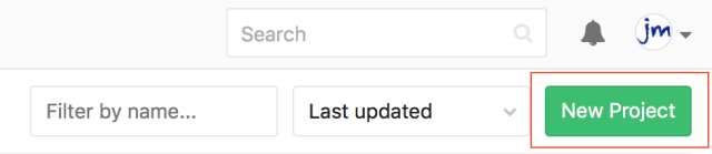 The Gitlab new project button.
