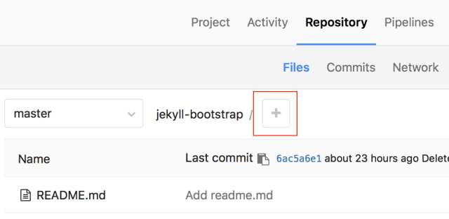 The location of the Gitlab new file button.