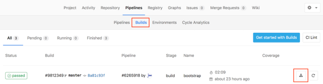 The location of the Gitlab Build and file download buttons.