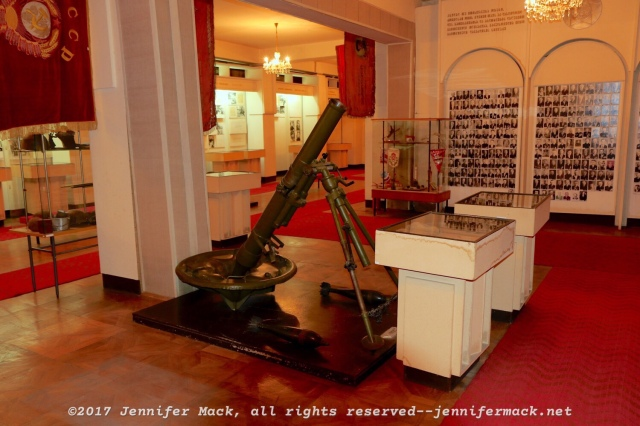 An artillery piece (mortar) on display inside of the Georgian War Museum.
