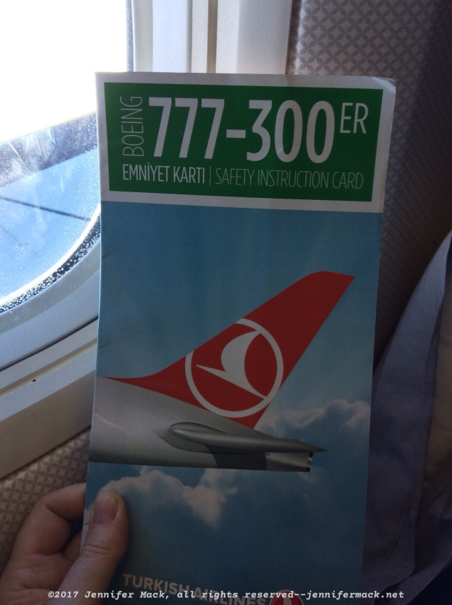 Boeing 777-300ER safety card.