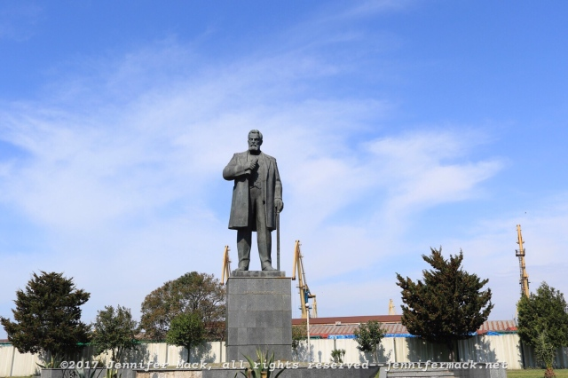 A statue at the entrance to the Poti harbor.